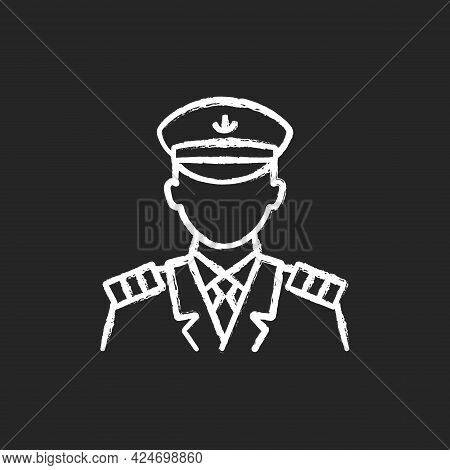 Male Captain Chalk White Icon On Dark Background. Person Controling All Cruise Crew. Providing Best