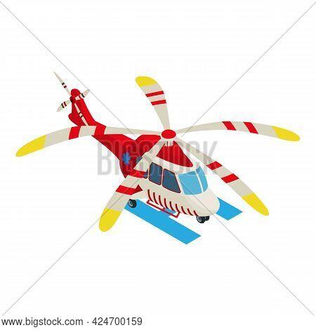 Medical Helicopter Icon Isometric Vector. Helicopter Ambulance Evacuation. Emergency Evacuation Medi