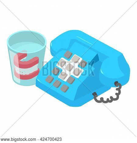 Dental Consultation Icon Isometric Vector. Push Button Telephone Denture In Glass. Dental Clinic