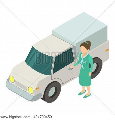 Veterinary Care. Doctor Stands Near Car. Veterinary Medicine