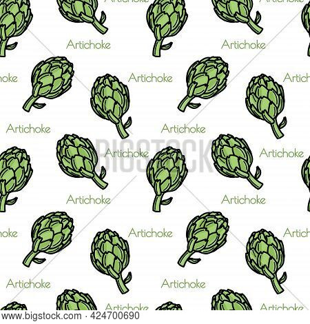 Seamless Pattern With Artichokes. Isolated On White Background. Vector