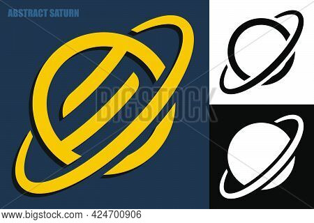Abstract Planet Saturn Symbol With Ring. Exploring Space And Solar System. Symbol Sign For Company N