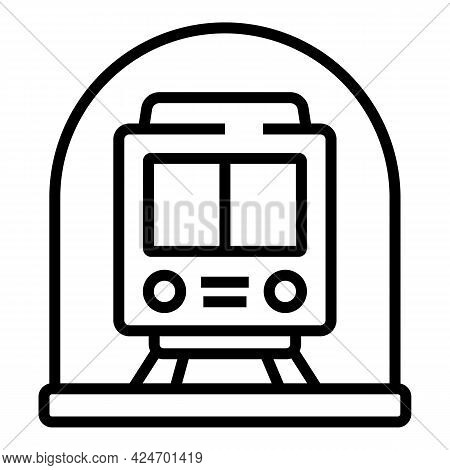 Subway Metro Train Icon. Outline Subway Metro Train Vector Icon For Web Design Isolated On White Bac