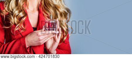 Perfume Bottle Woman Spray Aroma. Woman Holding A Perfumes Bottle. Woman Presents Perfumes Fragrance
