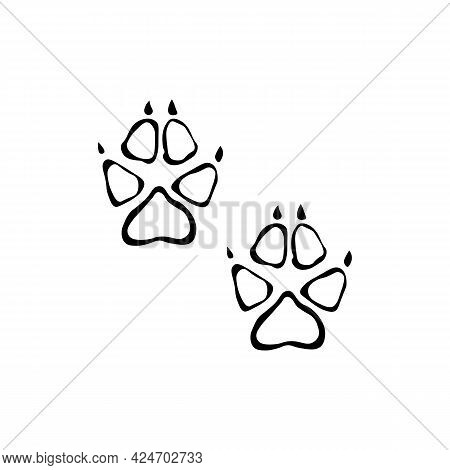 Black Icon Footprints Of Beast, Footprints Of Animal. Vector Illustration Eps 10