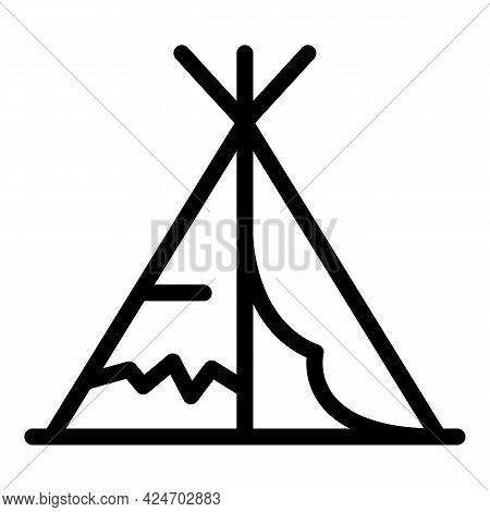 Expedition Tribal Tent Icon. Outline Expedition Tribal Tent Vector Icon For Web Design Isolated On W