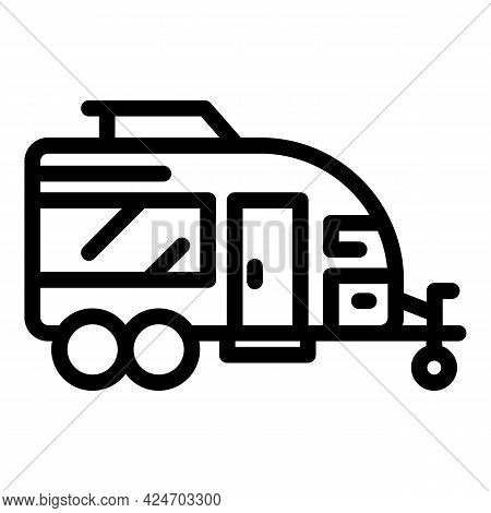 Expedition Trailer Icon. Outline Expedition Trailer Vector Icon For Web Design Isolated On White Bac