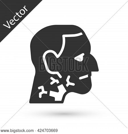 Grey Throat Cancer Icon Isolated On White Background. Laryngeal Cancer. Vector