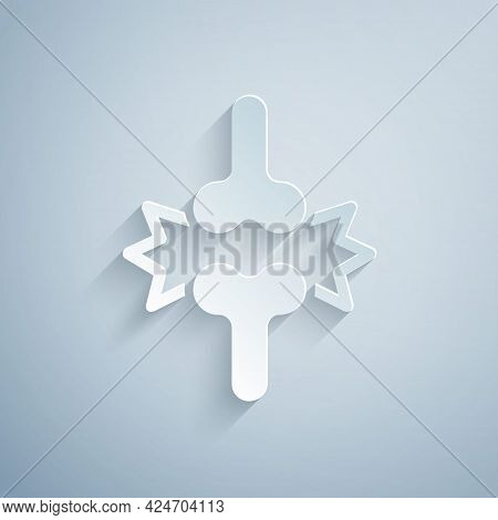 Paper Cut Joint Pain, Knee Pain Icon Isolated On Grey Background. Orthopedic Medical. Disease Of The