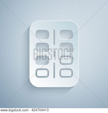 Paper Cut Nicotine Gum In Blister Pack Icon Isolated On Grey Background. Helps Calm Cravings And Red