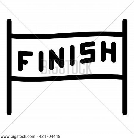 Finish Banner Icon. Outline Finish Banner Vector Icon For Web Design Isolated On White Background