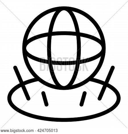 Globe Hologram Projection Icon. Outline Globe Hologram Projection Vector Icon For Web Design Isolate