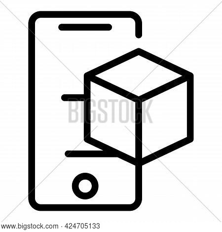 Smartphone Hologram Projection Icon. Outline Smartphone Hologram Projection Vector Icon For Web Desi