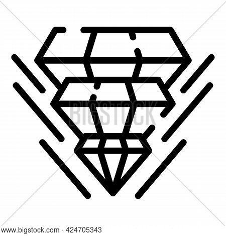 Diamond Gemstone Hologram Projection Icon. Outline Diamond Gemstone Hologram Projection Vector Icon