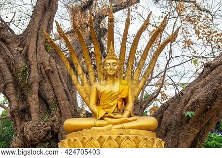 The Buddha Statue In Laos Style Posture With Snake Who Protected The Buddha From The Elements After