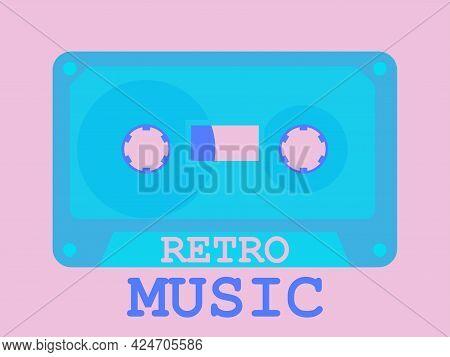 Retro Music Cassette Icon. Audio Cassette 80s Style. Music Cassette For Tape Recorder Disco Party. V