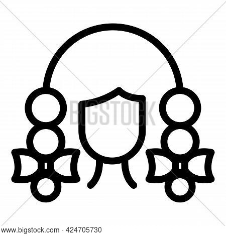 Coiffure School Girl Icon. Outline Coiffure School Girl Vector Icon For Web Design Isolated On White