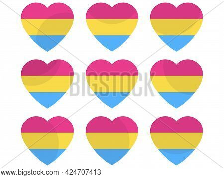 Hearts With Pansexual Flag, Icon Set. Pansexual Pride Day. Lgbt Sexual Minorities. Design For Banner