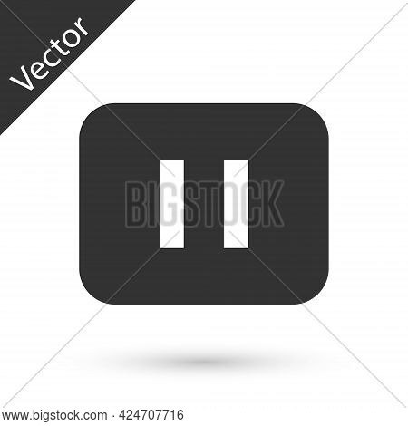 Grey Pause Button Icon Isolated On White Background. Vector