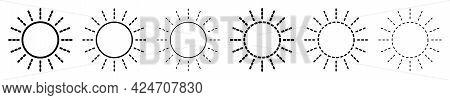Sun Icon. Set Of Linear Sun Icons. Vector Illustration. Sun Vector Icons. Black Linear Sun Icons