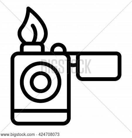 Campsite Lighter Icon. Outline Campsite Lighter Vector Icon For Web Design Isolated On White Backgro