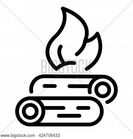 Camping Bonfire Icon. Outline Camping Bonfire Vector Icon For Web Design Isolated On White Backgroun