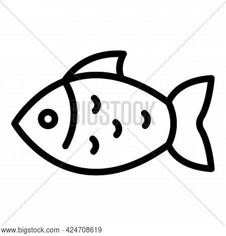 Campsite River Fish Icon. Outline Campsite River Fish Vector Icon For Web Design Isolated On White B
