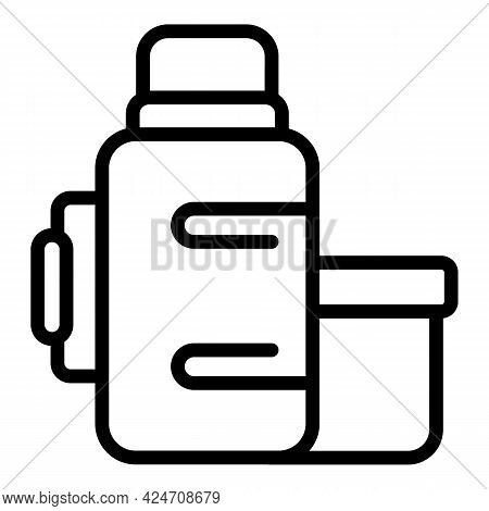 Campsite Thermos Bottle Icon. Outline Campsite Thermos Bottle Vector Icon For Web Design Isolated On