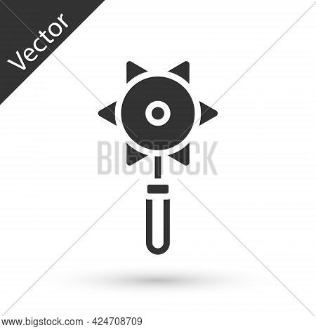 Grey Medieval Chained Mace Ball Icon Isolated On White Background. Medieval Weapon. Vector