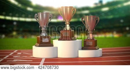 Sport trophy cups on pedestal at the stadium. Competition, championship winners reward. 3d illustration