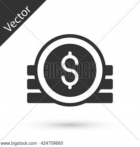 Grey Ancient Coin Icon Isolated On White Background. Vector