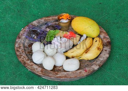 Bengali Sweets, Banana , Mango Etc. Materials To Be Offered For Worshipping Lord Jagannath Is Arrang