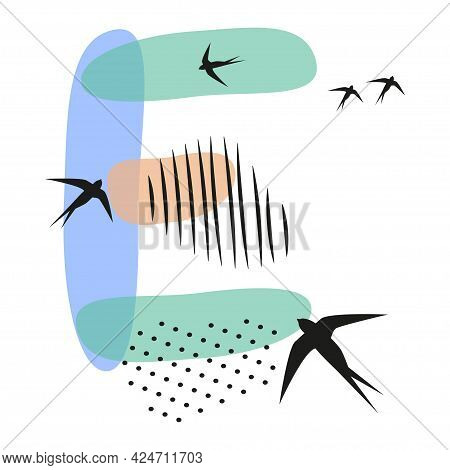 Minimalistic Pattern An Oriental Style In Form Of Letter E. Flock Of Swallows Flies. Abstract Object