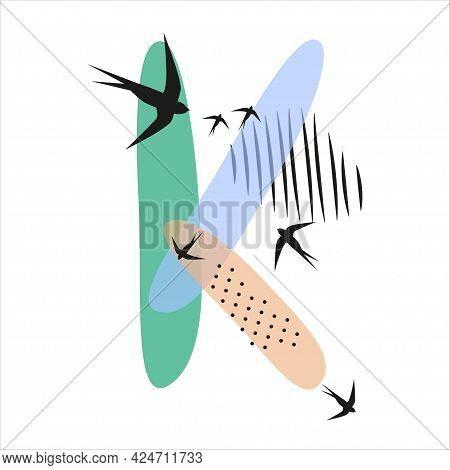 Minimalistic Pattern An Oriental Style In Form Of Letter K. Flock Of Swallows Flies. Abstract Object