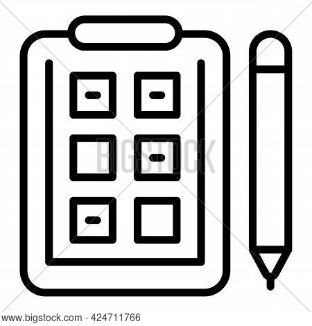 Housewife Clipboard Icon. Outline Housewife Clipboard Vector Icon For Web Design Isolated On White B