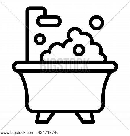 Morning Foam Bathtub Icon. Outline Morning Foam Bathtub Vector Icon For Web Design Isolated On White