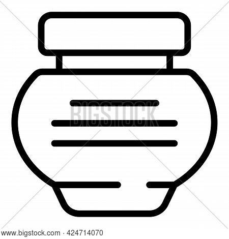 Cream Jar Icon. Outline Cream Jar Vector Icon For Web Design Isolated On White Background