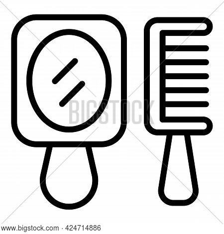 Handle Mirror Comb Icon. Outline Handle Mirror Comb Vector Icon For Web Design Isolated On White Bac