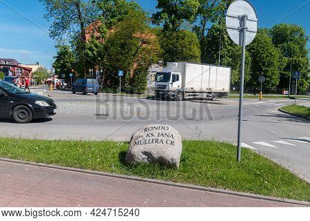 Koscierzyna, Poland - May 31, 2021: Priest Jan Muller Roundabout.