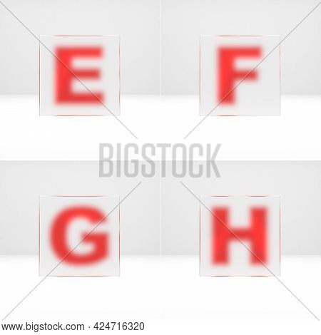 E, F, G, H Letters Through Matte Glass. Uppercase Art Font 3d Rendered.