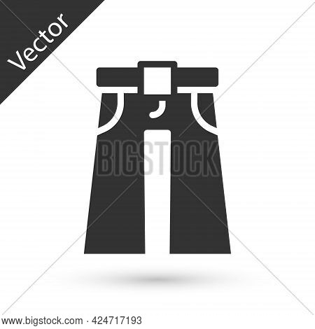 Grey Jeans Wide Icon Isolated On White Background. Vector