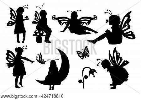 Little Girl Butterflies Set. Fairy Girl Vector Illustratration.