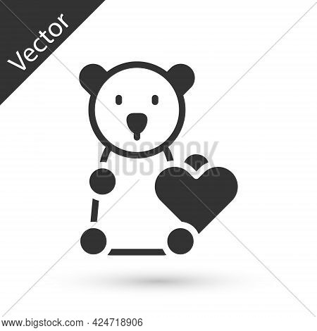 Grey Donate Child Toys Icon Isolated On White Background. Charity Kindness, Volunteer Social Assista