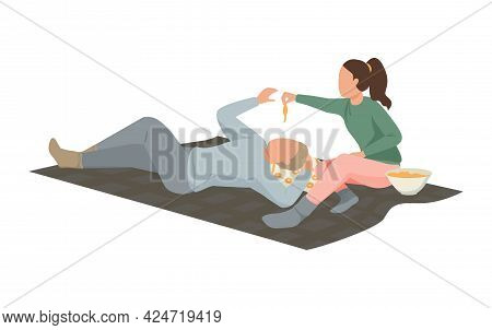 Hygge Lifestyle Icon With Couple Spending Time Together Lying On Floor Flat Vector Illustration