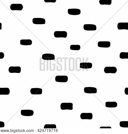 Seamless Abstract Pattern With Black Shabby Spots And Blots On White Background. Geometric Backgroun