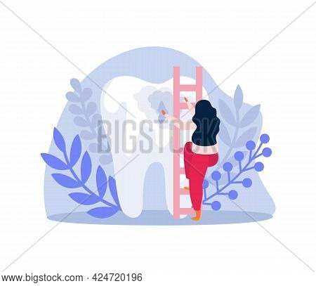 Unhealthy Tooth And Tiny Woman Character Climbing Up Ladder Flat Icon Vector Illustration