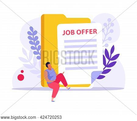 Employment Flat Design Composition With Job Offer Document Yellow Folder And Character Vector Illust