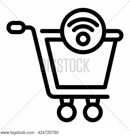 Marketing Wifi Cart Icon. Outline Marketing Wifi Cart Vector Icon For Web Design Isolated On White B