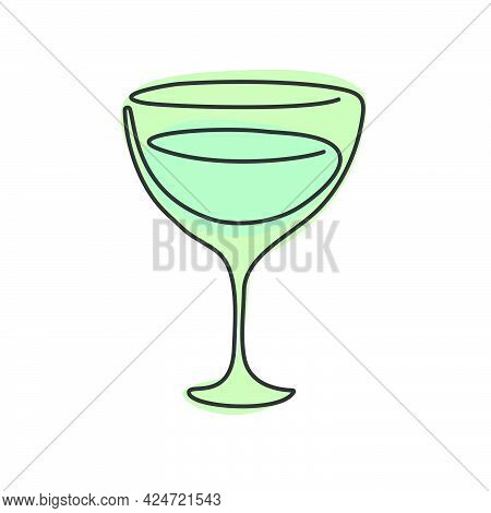 One Line Drawing Vermouth Glass On White Background. Object For Celebration Design. Colored Cartoon