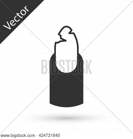 Grey Broken Nail Icon Isolated On White Background. Cracked Fingernail. Vector